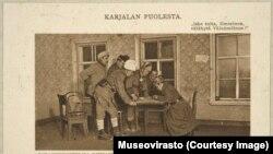 Штаб карельских лесных партизан в деревне Кимасозеро, январь 1922 года