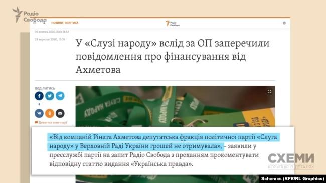 У пресслужбі президентської партії заявили: «Від компаній Ріната Ахметова депутатська фракція політичної партії «Слуга народу» у Верховній Раді грошей не отримувала»
