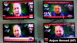 Pakistani news channels aired former Prime Minister Nawaz Sharif's address to a meeting of opposition parties in Islamabad on September 21.