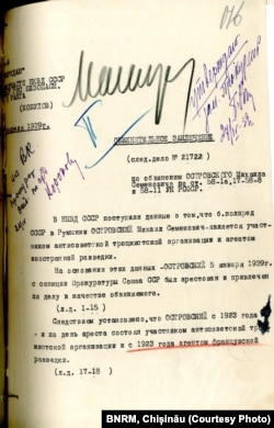 Dosarul de condamnare a lui Mihail Ostrovski