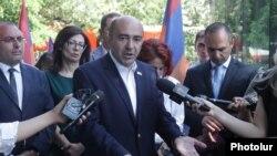 Bright Armenia leader Edmon Marukian speaks with journalists in Yerevan on June 11.