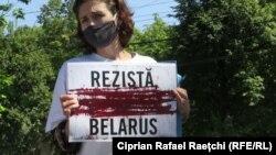 Protest în fața Ambasadei R. Belarus la Chișinău, 13 august 2020
