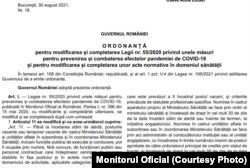 Monitorul Oficial din 30 august 2021 - cuprinde ordonanța de modificare a Legii 53/2020