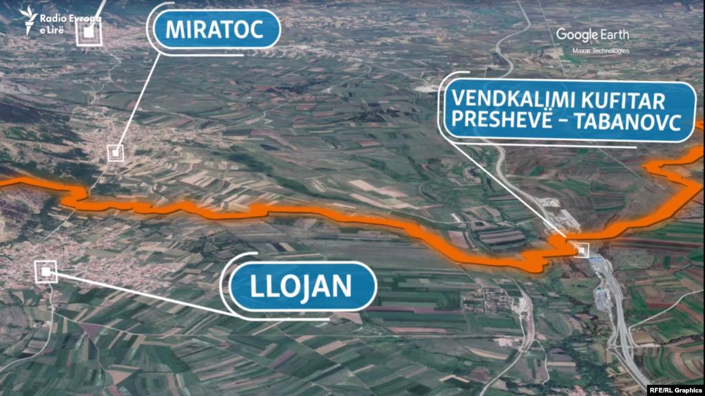 Vija kufitare e Serbisë me Maqedoninë e Veriut. Pamje satelitore.