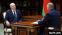 Belarusian leader Alyaksandr Lukashenka (left) and Ivan Naskevich (file photo)