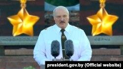 Беларуският президент Александър Лукашенко изнася тържествана реч на 22 юни.