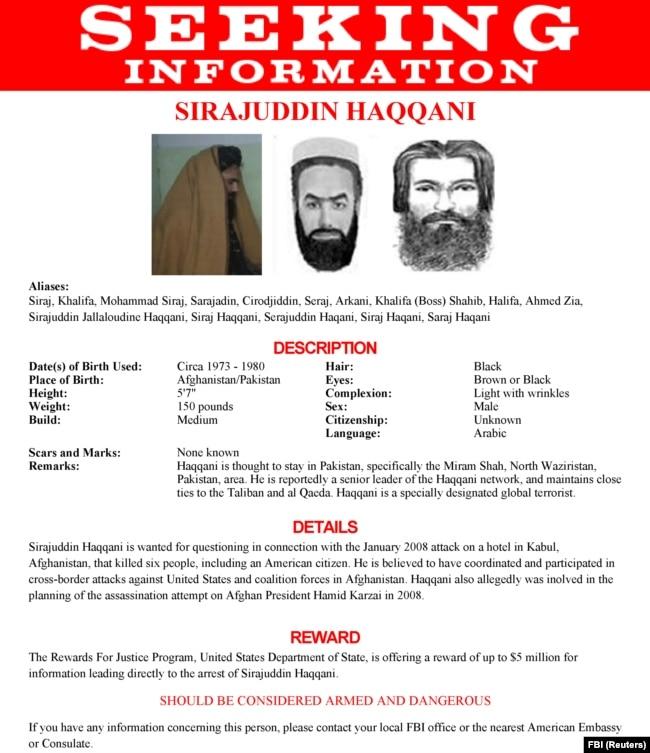 Ky është posteri ku Byroja Federale e Hetimeve në SHBA, kërkon Sirajuddin Haqqanin.