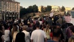 Акція переселенців Донбасу у Києві проти нового пропускного режиму