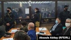 На заседании по делу о межэтническом конфликте в четырех селах в Кордайском районе Жамбылской области. Тараз, 3 декабря 2020 года.