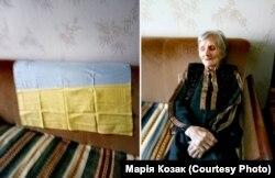 89-летняя Анна Кондратьевна Марциновская (справа), мама Марии Козак. Для участия семьи в «живой цепи» женщина пошила флаг (слева)