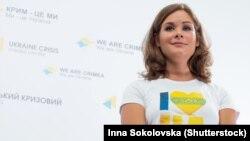 Мария Гайдар на пресс-конференции в Киеве, 20 июля