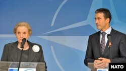 Former U.S. Secretary of State Madeleine Albright with NATO Secretary-General Anders Fogh Rasmussen in Brussels in September 2009