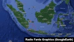 Мапа Індонезії з позначенням місця авіакатастрофи