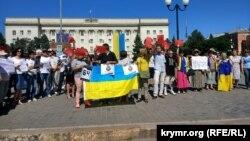 Акція на підтримку Олега Сенцова в Херсоні. 2 червня 2018 року
