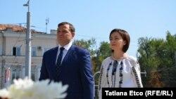 Premierul Maia Sandu cu vice-premierul Andrei Nastase, la ceremoniile de Ziua Independenței, 27 augus 2019