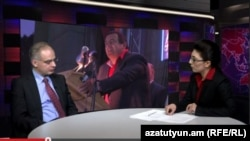 Levon Zurabian, head of the opposition Armenian National Congress party's parliamentary faction, in Azatutyun TV's studio, Yerevan, 25 Feb 2015