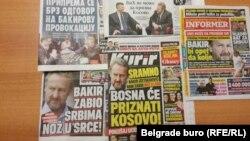 Naslovne strane novina i tabloida u Srbiji zbog Izetbegovićeve navodne izjave