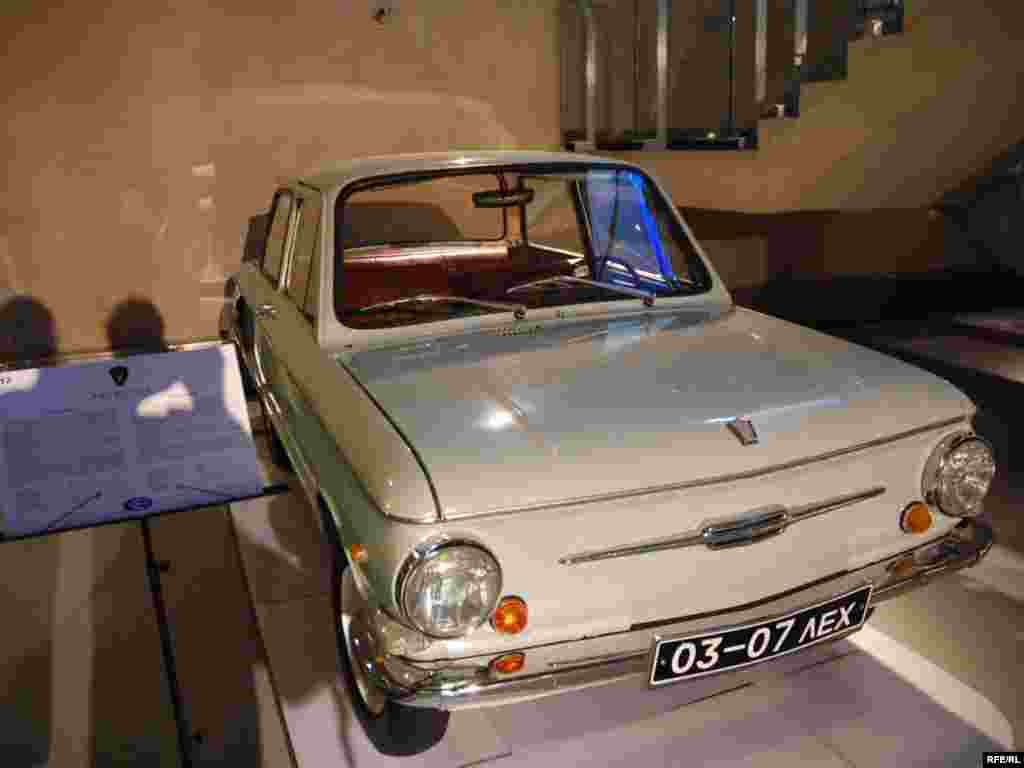 "A Zaporozhets that once belonged to Prime Minister Vladimir Putin. The Zaporozhets was a compact car made in a factory in Ukraine and was nicknamed the ""hunchback"" for its distinctive shape."