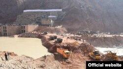 Начало строительства плотины Рогунской ГЭС. 29 октября 2016 года.