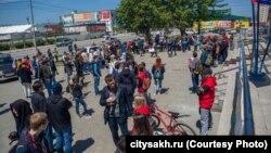 """Южно-Сахалинск, площадка у ДК """"Родина"""", разрешенная для пикетов"""