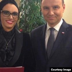 Ольга Литвиненко и президент Польши Анджей Дуда