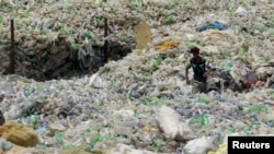 عامل يجمع قناني البلاستيك من أجل بيعها لمعامل تدوير النفايات
