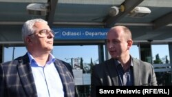 Andrija Mandić i Milan Knežević na podgoričkom aerodromu, novembar 2018.
