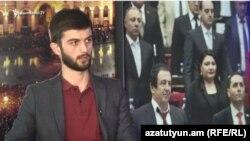 Член социал-демократической партии «Решение гражданина» Микаэл Наапетян в студии Азатутюн ТВ, Ереван, 6 мая 2019 г.