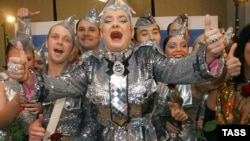 "Ukrainian drag queen Verka Serduchka (center) whose nutty ditty ""Dancing Lasha Tambai"" flabbergasted Eurovision audiences in 2007."