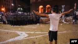 Сцена от антиправителствените протести през лятото на 2020 г.