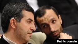 Iran--Esfandiar Rahim Mashaei (left) Iran's president chief of staff and Hamid Baqai, Ahmadinejad confidant