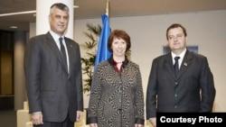 Hashim Thaçi, Catherine Ashton dhe Ivica Daçiq.