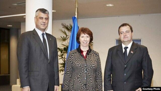 Hašim Tači, Ketrin Ešton i Ivica Dačić, decembar 2012.