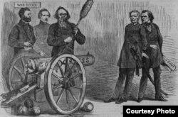 Карикатура из еженедельника Harper's Weekly. Стэнтон из пушки под названием «Конгресс» целится в Джонсона и генерала Лоренцо Томаса. Из кармана у Джонсона торчит бумага, озаглавленная «Государственный переворот».