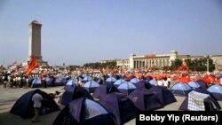 Protestatarii și-au ridicat corturile în Piața Tiananmen.