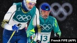 Алексей Полторанин (13-нөмерде) Пхенчхан олимпиадасына қатысып жатқан сәт.