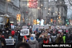 Protestna kolona frilensera u Beogradu, 16. januar