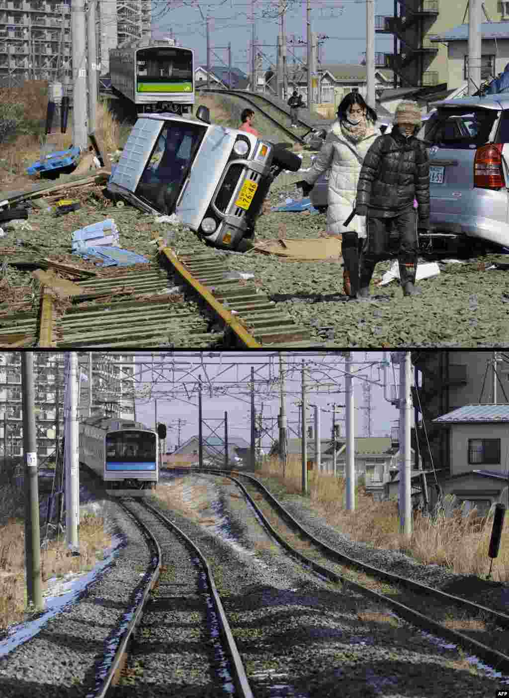 On top,  people walking on train tracks littered with cars in Tagajo, Miyagi Prefecture, on March 13, 2011, and below, the same area on January 12, 2012