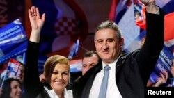 Stožer Hrvatske demokratske zajednice (HDZ) i predsjednik stranke Tomislav Karamarko slavi izbor Kolinde Grabar Kitarović za predsjednicu Hrvatske, 11. siječnja 2015.
