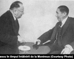 M. Litvinov și N. Titulescu în timpul întâlnirii de la Montreux