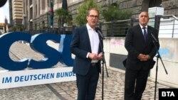 Председателят на Християнсоциалния съюз в Бундестага Александер Добриндт и премиерът Бойко Борисов