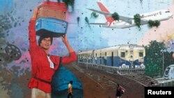 نقاشی آمیتاب باچان روی دیواری در شهر مومبای