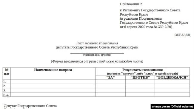 Бланк для удаленного голосования депутатов крымского парламента на период карантина в Крыму