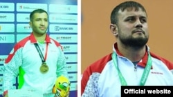 Таджикские борцы Комроншох Устопириён и Умед Хасанбеков