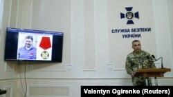 Замглавы СБУ Виктор Кононенко выступает на брифинге по поводу дела Кирилла Вышинского