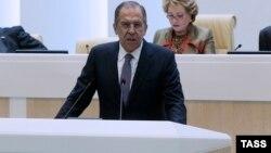 Ресей сыртқы істер министрі Федерация кеңесінің жиынында сөйлеп тұр. Мәскеу, 20 мамыр 2015 жыл.