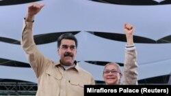 Претседателот на Венецуела Николас Мадуро и неговата сопруга.
