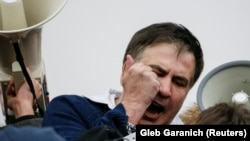 UKRAINE -- Former Georgian president Mikheil Saakashvili reacts after he was freed by his supporters in Kyiv, December 5, 2017
