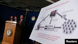 Федералдык прокурор Прит Бхарара Коста-Рикада катталган Liberty Reserve компаниясына каршы кылмыш иши ачылганын жарыялоодо. Нью-Йорк, 28-май 2013
