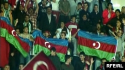 Azerbaijani football fans at the Turkey-Armenia World Cup qualifying match in Bursa in October 2009